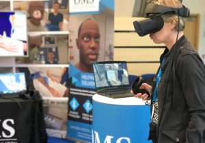 Healthcare professional trying out virtual reality medical simulation on the Rift S